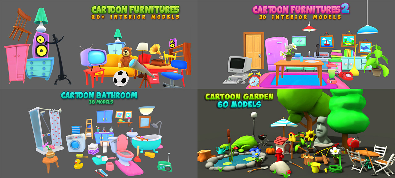 Unity Asset 9 Cartoon Characters : Cartoon characters unity community